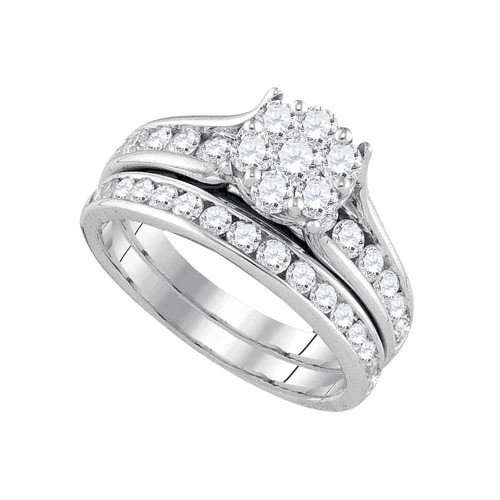 14kt White Gold Womens Round Diamond Flower Cluster Bridal Wedding Engagement Ring Band Set 1-1/2 Cttw