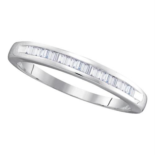 10kt White Gold Womens Baguette Diamond Wedding Anniversary Band 1/4 Cttw