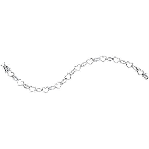 Sterling Silver Womens Round Diamond Heart Outline Link Bracelet 1/6 Cttw