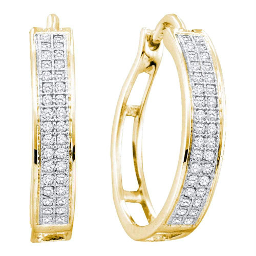10kt Yellow Gold Womens Round Diamond Hoop Earrings 1/5 Cttw - 50079