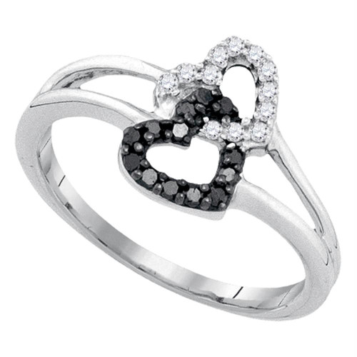 Sterling Silver Womens Round Black Color Enhanced Diamond Double Heart Ring 1/6 Cttw