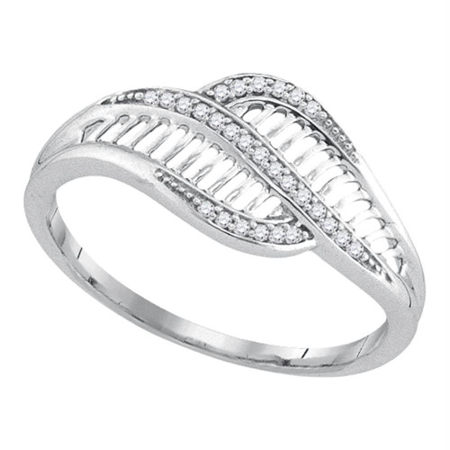 10kt White Gold Womens Round Diamond Bypass Fashion Band Ring 1/12 Cttw