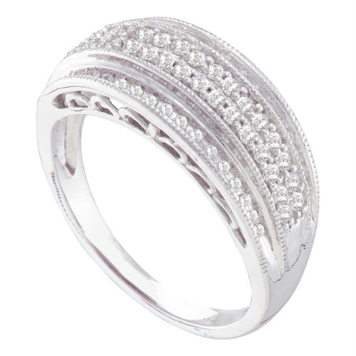 10kt White Gold Womens Round Diamond Domed Band Ring 3/8 Cttw
