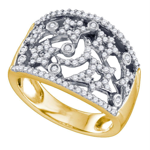 10kt Yellow Gold Womens Round Diamond Star Fashion Band Ring 1/2 Cttw