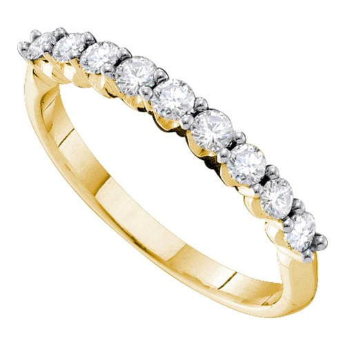 14kt Yellow Gold Womens Round Diamond Single Row Wedding Band 1/2 Cttw