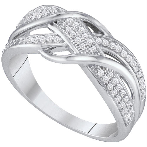 10kt White Gold Womens Round Diamond Crossover Band Ring 1/5 Cttw - 64875