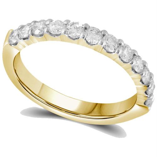 14kt Yellow Gold Womens Round Diamond Single Row Wedding Band 1/2 Cttw - 40833