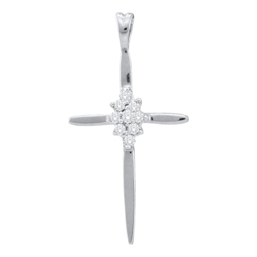 10k White Gold Womens Round Diamond Cluster Christian Cross Pendant 1/20 Cttw