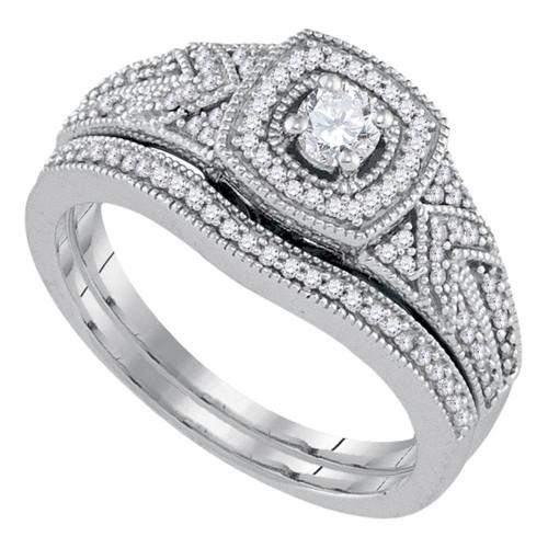 10k White Gold Womens Round Diamond Filigree Bridal Wedding Engagement Ring Band Set 3/8 Cttw