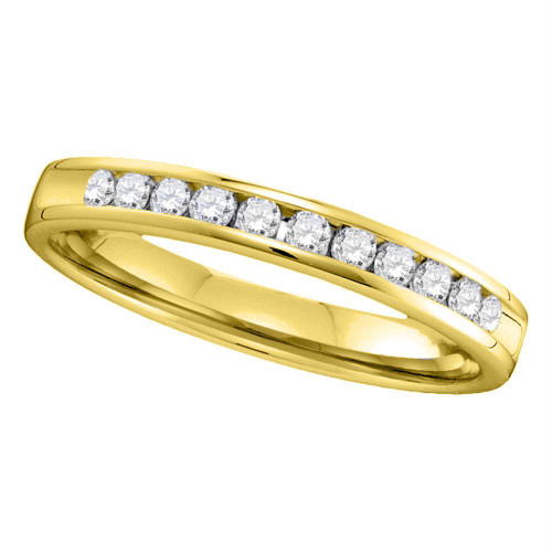 14kt Yellow Gold Womens Round Channel-set Diamond Single Row Wedding Band 1/4 Cttw