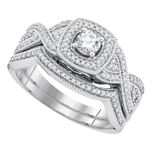 10k White Gold Womens Round Diamond Bridal Wedding Engagement Ring Band Set 1/2 Cttw - 92216-5.5