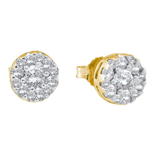 14kt Yellow Gold Womens Round Diamond Flower Cluster Screwback Stud Earrings 1/2 Cttw - 39222