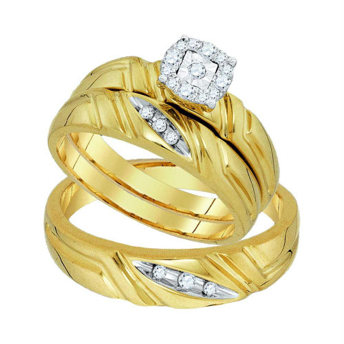 10k Yellow Gold Round Diamond Matching Mens Womens Halo Trio Wedding Bridal Ring Set 1/6 Cttw