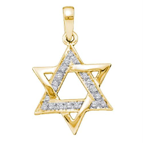 10kt Yellow Gold Womens Round Diamond Star Magen David Jewish Pendant 1/10 Cttw