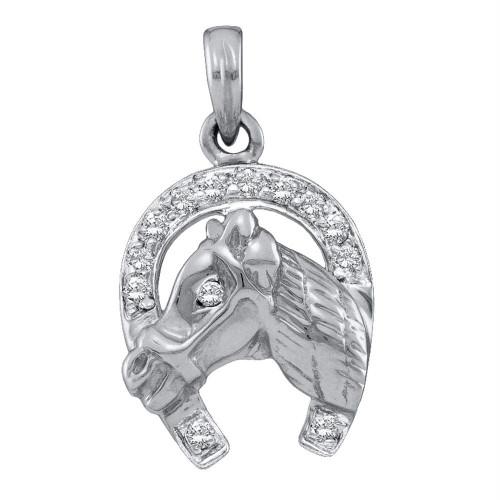 10kt White Gold Womens Round Diamond Lucky Horseshoe Charm Pendant 1/10 Cttw