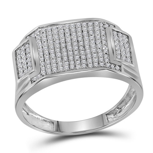 10kt White Gold Mens Round Diamond Rectangle Cluster Ring 1/2 Cttw - 91382-9.5