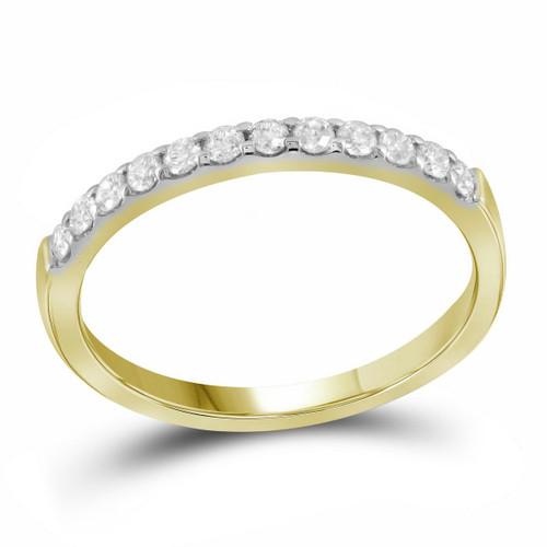 14kt Yellow Gold Womens Round Pave-set Diamond Single Row Wedding Band 1/4 Cttw - 99846-5.5