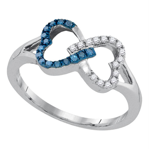 Sterling Silver Womens Round Blue Color Enhanced Diamond Double Linked Heart Ring 1/6 Cttw