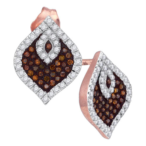 10kt Rose Gold Womens Round Red Color Enhanced Diamond Stud Cluster Spade Earrings 3/8 Cttw