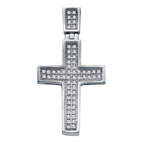 10kt White Gold Mens Round Diamond Small Christian Cross Charm Pendant 1/6 Cttw