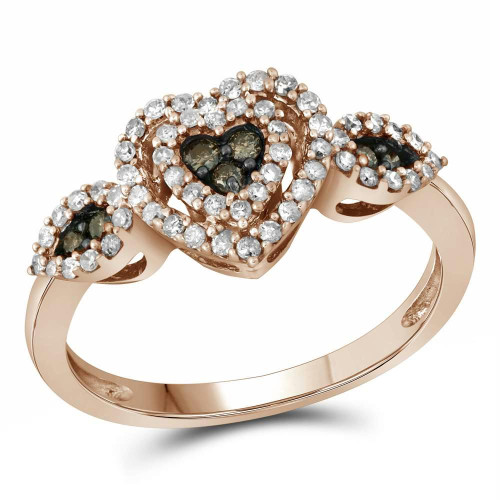 10kt Rose Gold Womens Round Brown Color Enhanced Diamond Heart Cluster Ring 3/8 Cttw