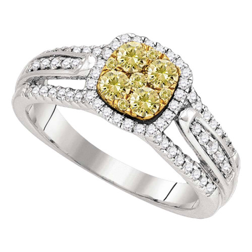 14kt White Gold Womens Round Yellow Diamond Cluster Bridal Wedding Engagement Ring 3/4 Cttw - 87884-8