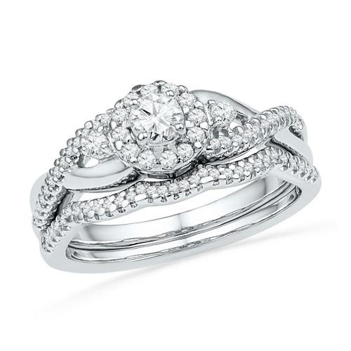 10k White Gold Womens Round Diamond Bridal Wedding Engagement Ring Band Set 1/2 Cttw - 101839-10.5