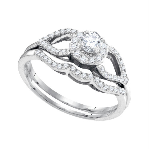 10kt White Gold Womens Round Diamond Split-shank Bridal Wedding Engagement Ring Band Set 3/8 Cttw - 95304-5