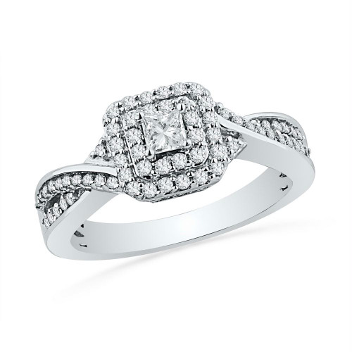 10kt White Gold Womens Princess Diamond Solitaire Bridal Wedding Engagement Ring 1/2 Cttw