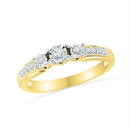 10kt Yellow Gold Womens Round Diamond 3-stone Bridal Wedding Engagement Ring 1/5 Cttw