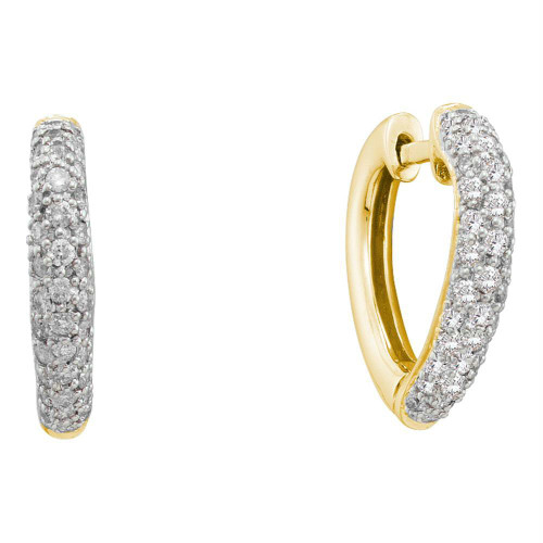 14kt Yellow Gold Womens Round Diamond Heart Love Hoop Earrings 1/2 Cttw