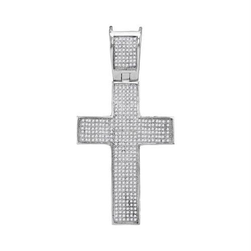 10kt White Gold Mens Round Diamond Symmetrical Christian Cross Charm Pendant 1.00 Cttw