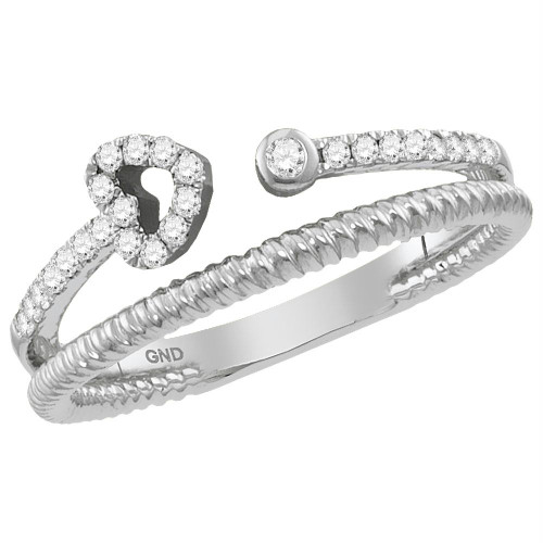 10kt White Gold Womens Round Diamond Heart Bisected Stackable Band Ring 1/6 Cttw