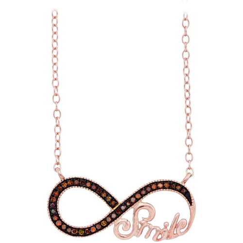 10k Rose Gold Womens Red Color Enhanced Diamond Infinity Smile Love Anniversary Necklace 1/10 Cttw