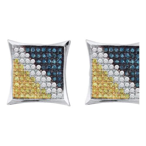 10kt White Gold Mens Round Blue Yellow Color Enhanced Diamond Square Kite Earrings 1/20 Cttw