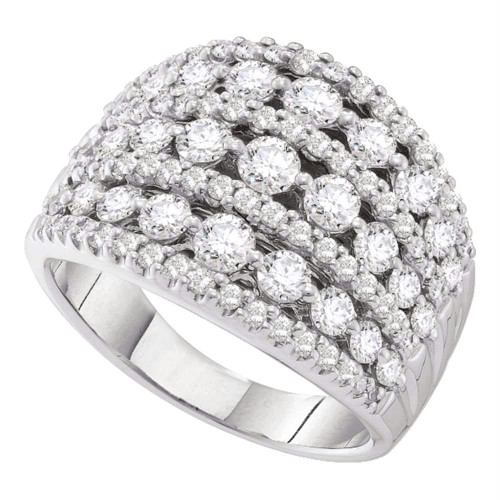 14kt White Gold Womens Round Pave-set Diamond Wide Fashion Band Ring 3.00 Cttw
