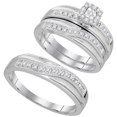 10k White Gold Round Diamond Matching Trio Mens Womens Wedding Bridal Ring Set 1/3 Cttw