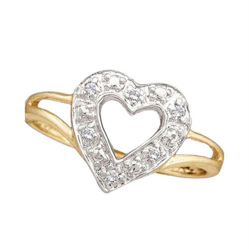 10kt Yellow Gold Womens Round Diamond Split-shank Heart Ring 1/20 Cttw - 15422-9