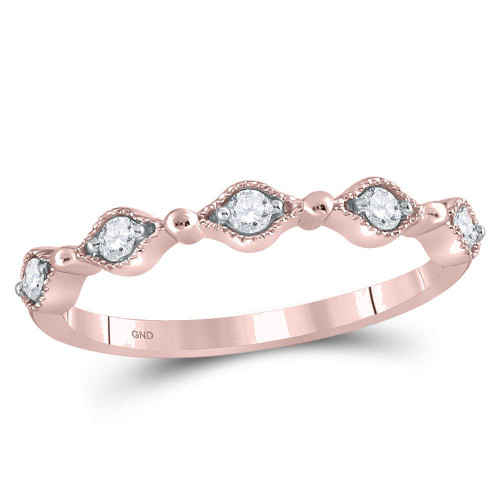 10kt Rose Gold Womens Round Diamond Contour Stackable Band Ring 1/8 Cttw