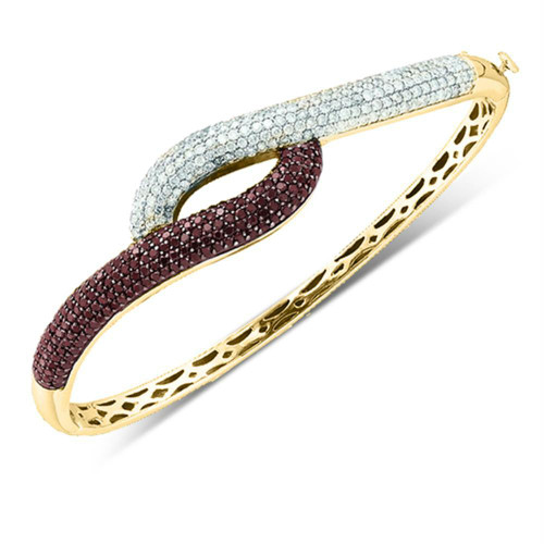 14k Yellow Gold Womens Cognac-brown Color Enhanced Diamond Luxury Bangle Bracelet 2-1/2 Cttw