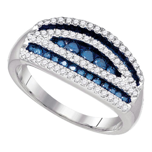 10k White Gold Womens Blue Color Enhanced Round Diamond Striped Cocktail Band Ring 3/4 Cttw