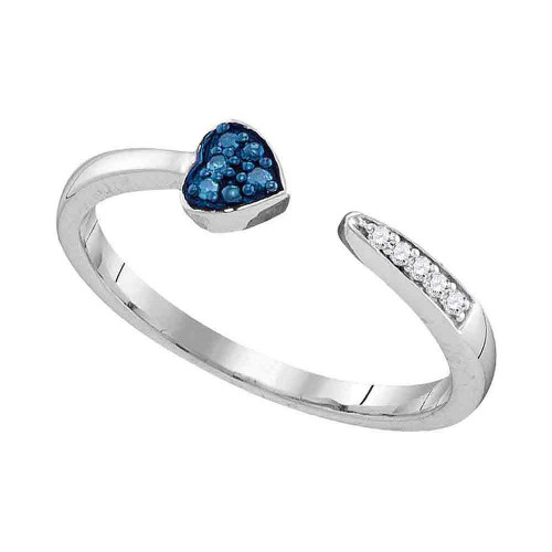 Sterling Silver Womens Round Blue Color Enhanced Diamond Bisected Heart Band 1/20 Cttw
