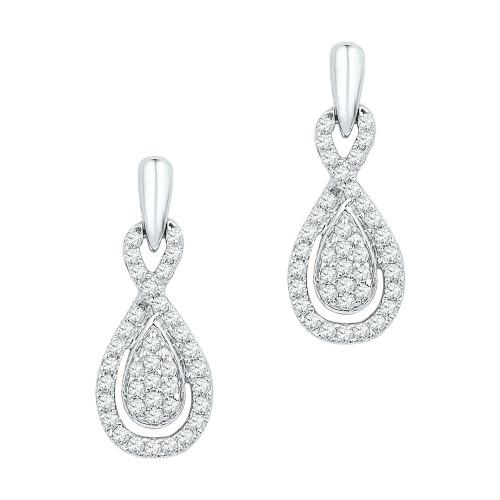 10k White Gold Womens Diamond Oval-shape Dangle Screwback Earrings 1/3 Cttw