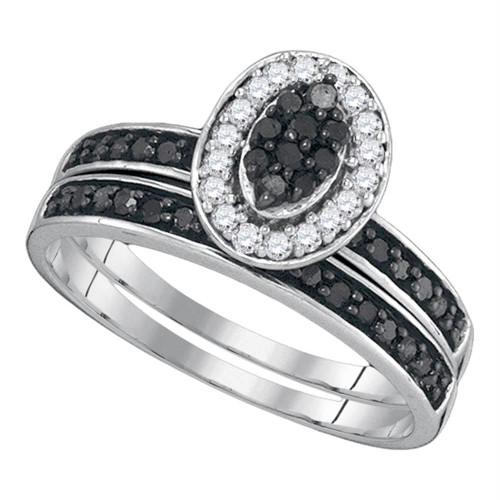 10k White Gold Black Color Enhanced Diamond Womens Cluster Bridal Wedding Engagement Halo Ring Set 1/2 Cttw