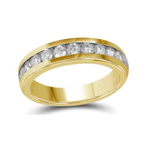 10k Yellow Gold Mens Round Diamond Wedding Anniversary Band Ring 1.00 Cttw - 109592-8.5