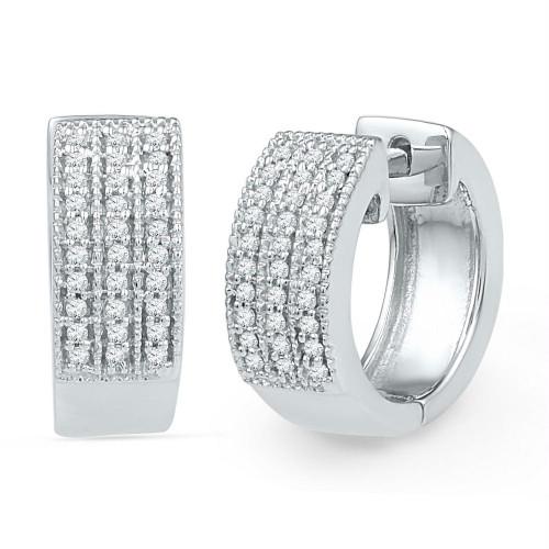 10kt White Gold Womens Round Diamond Huggie Hoop Earrings 1/4 Cttw