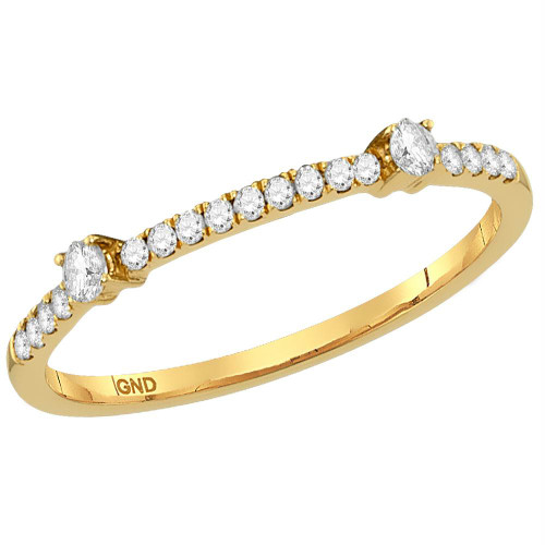 10kt Yellow Gold Womens Round Diamond Single Row Stackable Band Ring 1/6 Cttw