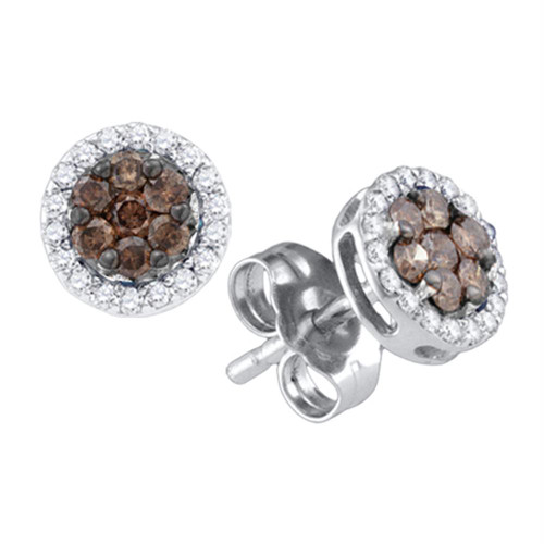 10k White Gold Womens Cognac-brown Color Enhanced Diamond Flower Cluster Screwback Stud Earrings 1/4 Cttw