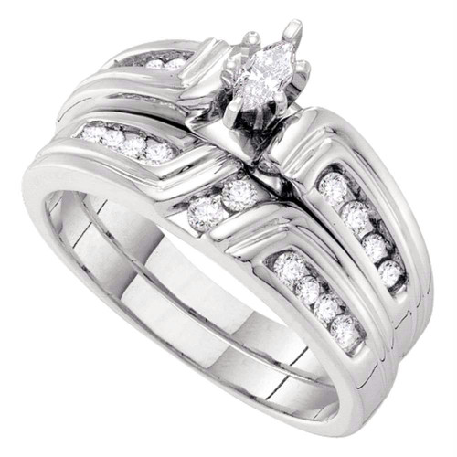14kt White Gold Womens Marquise Diamond Bridal Wedding Engagement Ring Band Set 3/8 Cttw