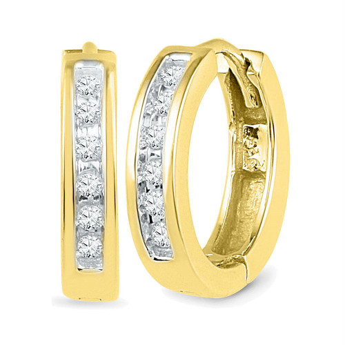 10kt Yellow Gold Womens Round Diamond Hoop Earrings 1/8 Cttw